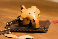 Handmade Elephant Hippo Key Wallet Keychain Leather Wallet Cute Leather Accessories Gift For Men Women
