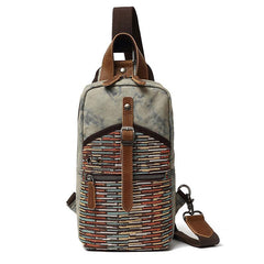 Rustic Canvas Leather Mens Sling Bags Chest Bag One Shoulder Pack for men