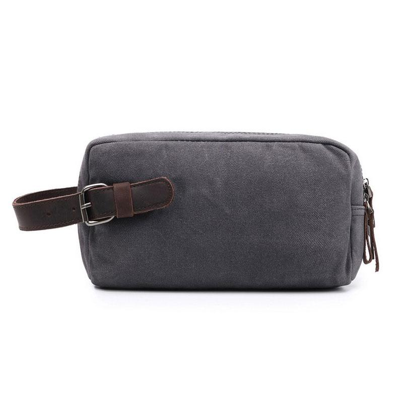 Cool Waxed Canvas Leather Mens Zipper Wristlet Bag Vintage Clutch Zipper Bag for Men