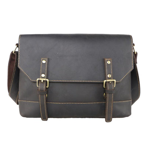 Cool Brown Leather Mens Small Courier Bags Vintage Brown Messenger Bag Postman Bag For Men