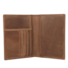 Slim RFID Men's Leather Bifold Short Passport Wallet Travel Wallet Ticket Wallet For Men