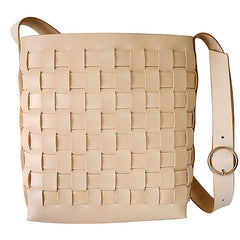 Vintage Leather Beige Braided Womens Crossbody Purse Shoulder Bag for Women