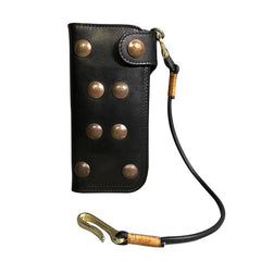 Handmade Leather Biker Wallet Long Mens Cool Chain Wallet Trucker Wallet with Chain