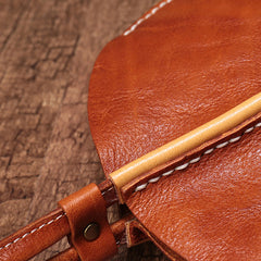 Brown Leather Womens Round Handbag Wristlet Purse Mini Circle Purse For Women