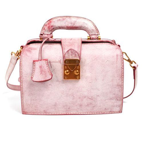 Fashion Women's Leather Pink Structured Satchel Small Doctor Handbag Shoulder Bag Purse