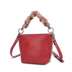 Stylish Leather Red Bucket Handbag Shoulder Bag Barrel Purse For Women