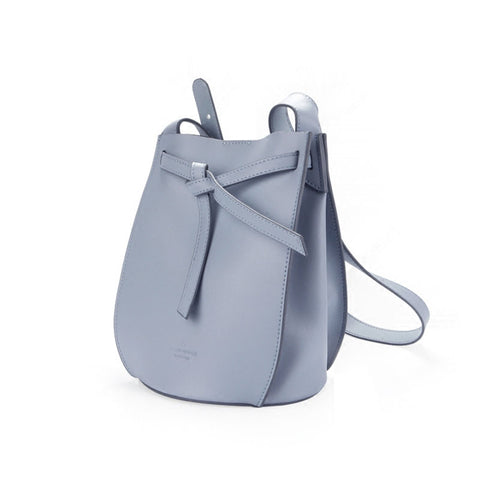 Stylish Leather Blue Womens Bucket Purse Crossbody Bag Barrel Shoulder Bag for Women
