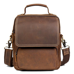 Dark Brown Leather 10 inches Vertical Messenger Bag Cool Side Bag Courier Bag Postman Bag for Men