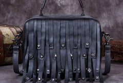 Genuine Leather Handbag Vintage Rivet Tassel Bag Crossbody Bag Shoulder Bag Purse For Women