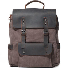 Cool Gray Canvas Travel Backpack Mens Canvas Backpack Canvas School Bag for Men
