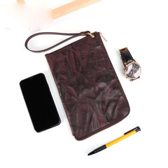 COFFEE Small MENS LEATHER SLIM ZIPPER CLUTCH WRISTLET PURSE BAG CLUTCH BAG FOR MEN