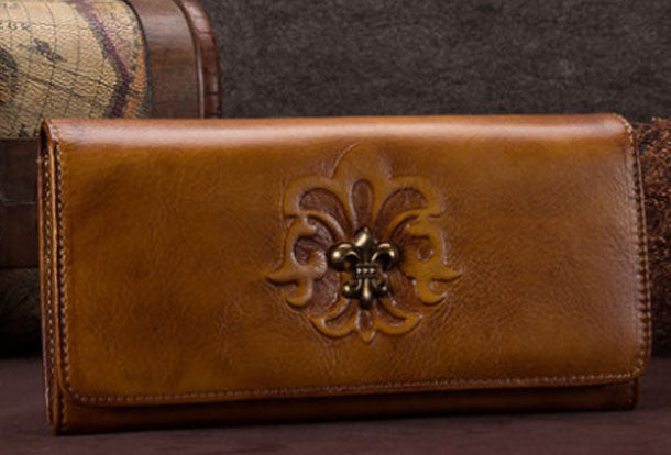 Genuine Leather Wallet Long Wallet Vintage Tooling Wallet Purse For Men Women