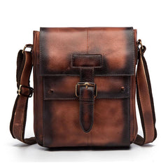 Cool Mens Leather Vintage Small Side Bag Small Messenger bag Shoulder bag For Men