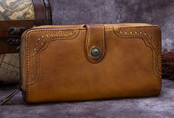 Genuine Vintage Leather For Men Women Long Wallet Tooled Purse O0wPnk