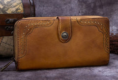 Genuine Leather Wallet Long Wallet Tooled Vintage Wallet Purse For Men Women