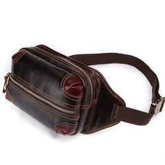 Vintage Coffee Brown LEATHER MENS FANNY PACK FOR MEN BUMBAG Vintage WAIST BAGS