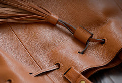 Handmade Genuine Leather Handbag Bucket Bag Purse Crossbody Bag Shoulder Bag Purse For Women