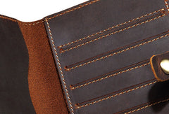 Handmade Genuine Leather Clutch Passport Wallet Bifold Long Wallet Purse Bag For Mens