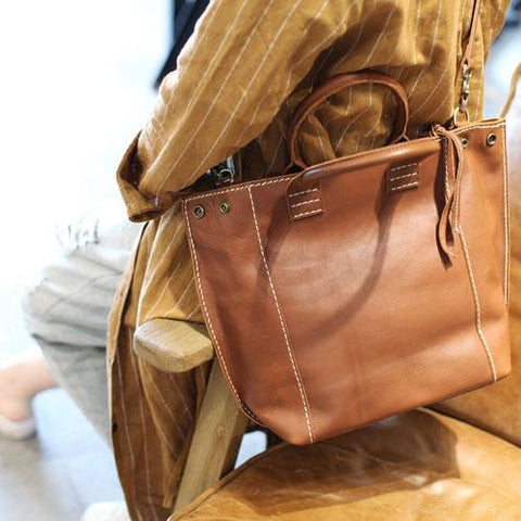 Stylish Womens Brown Leather Shopper Tote Bag Brown Leather Tote Handbag Shoulder Bag With Zipper