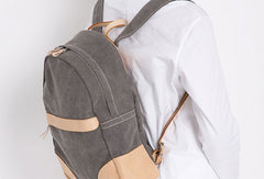 Handmade Leather canvas backpack shoulder purse for women leather shoulder bag