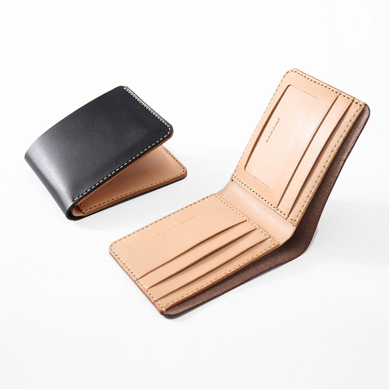 Handmade Cool Leather Womens Mens Bifold Small Wallets Short Wallet for Men