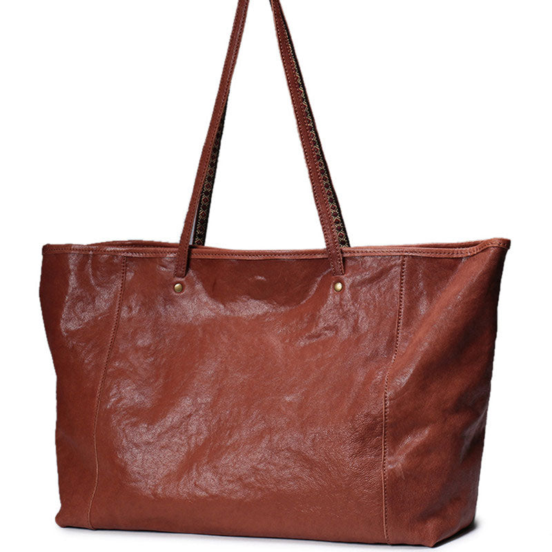 Fashion Brown Leather Tote Bag Shopper Bag Black Tote Purse For Women