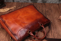 Genuine Leather Mens Handbag Vintage Handmade Briefcase Bag Messenger Bag Shoulder Bag Laptop Bag