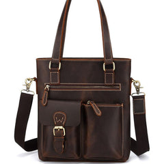Cool Black Coffee Leather Tote Work Bag Handbag Briefcase Shoulder Bag For Men