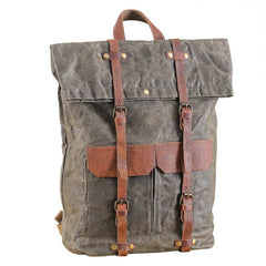 Waxed Canvas Leather Mens 15'' Green Waterproof Backpack Khaki Travel Backpack Hiking Backpack for Men