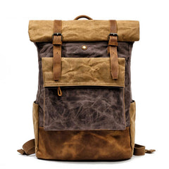 Cool Waxed Canvas Leather Mens Black 15'' Large Waterproof Travel Backpacks Computer Hiking Backpack for Men