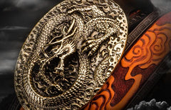 Handmade Leather Tooled Chinese Dragon Mens Belt Custom Cool Leather Men Belts for Men