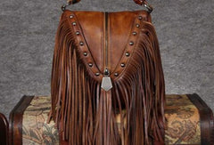 Genuine Leather Handbag Vintage Tassel Bamboo Crossbody Bag Shoulder Bag Purse For Women
