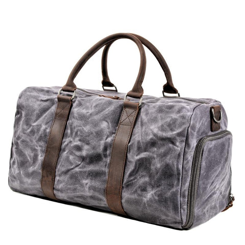 Waxed Canvas Leather Mens Large Travel Weekender Bag Waterproof Duffle bag for Men