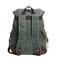 Cool Waxed Canvas Mens Casual 14'' Green Hiking Backpack Black Computer Backpack Travel Backpack College Bag for Men