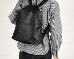 Fashion Leather Mens Cool Backpack Large Black Travel Backpack for men