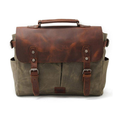 Mens Waxed Canvas Leather Side Bag Messenger Bag Canvas Courier Bag for Men