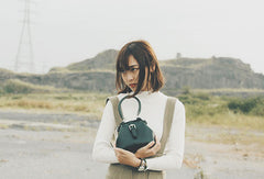 Handmade leather handbag Green doctor bag shoulder bag cossbody bag purse women