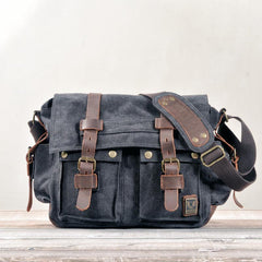 Cool Canvas Leather Mens Waterproof Black Side Bag Courier Bag Blue Messenger Bag for Men