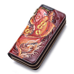 Handmade Leather Carp Mens Zipper Biker Wallet Cool Leather Chain Wallets Long Tooled Wallets for Men