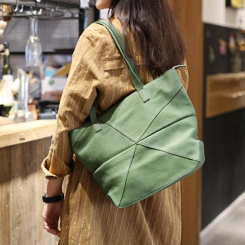 Best Fashion Green Womens Leather Tote Bags Medium Shoulder Tote Bag Purse for Ladies
