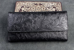Handmade long leather wallet trifold flowral leather clutch wallet for men women