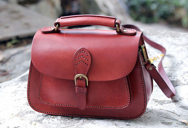 Handmade Womens Leather Satchel Handbags Purse Shoulder Bag for Women