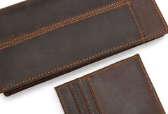 Handmade Genuine Leather Long Wallet Bifold Wallet Purse Clutch Bag For Mens