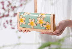 Handmade leather long clutch purse wallet floral cute wallet for women