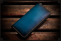Handmade Leather Mens Cool Long Leather Wallets Zipper Clutch Wallets for Men