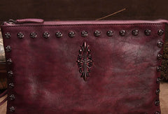 Genuine Leather Rivet Handbag Clutch Vintage Crossbody Bag Shoulder Bag Purse For Women