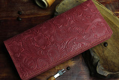 Handmade Long Leather Wallet Bifold Floral Leather Clutch Wallet For Men Women