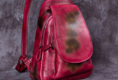 Vintage Womens Leather Backpack School Backpack Purse Small Backpack For Women