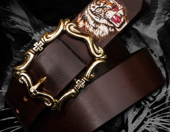 Handmade Genuine Leather Mens Tooled Tiger Belt Custom Cool Leather Men Black Belt for Men
