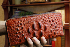 Long leather wallet crocodile zipper leather clutch wallets for men